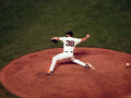 Giants closer brian wilson steps forward to throw pitch san francisco ca october game of the nlcs game between and phillies Royalty Free Stock Images