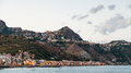 Giardini Naxos town below and Taormina city above Royalty Free Stock Photo