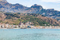 Giardini Naxos town on Ionian sea and Taormina Royalty Free Stock Photo