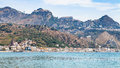 Giardini Naxos town and Taormina city on cape Royalty Free Stock Photo