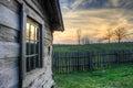 Gibbons cabin sunset, Hensley Settlement Royalty Free Stock Photo