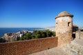 Gibralfaro castle watch tower, Malaga. Royalty Free Stock Photo