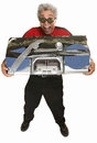Giddy man with boom box middle aged carrying taped Royalty Free Stock Photography