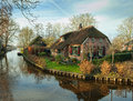 Giethoorn fine country view in netherlands Stock Photo