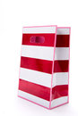 Gift bag for you red striped on white background Stock Photo
