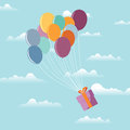 Gift on Balloons Royalty Free Stock Images