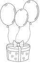 Gift with balloons coloring page Royalty Free Stock Photo