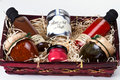 Gift basket with gourmet condiments and sauces.