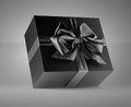 Gift black box with bow Royalty Free Stock Photography