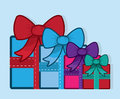 Gift with bow colors group of gifts in various Stock Image
