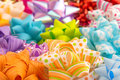 Gift bows heap of colored and decorated Stock Photo