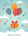 Gift box with balloons