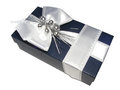 Gift box beautiful with silver ribbon Royalty Free Stock Photo