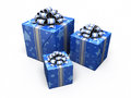 Gift box blue d render patterned isolated on white and clipping path Stock Photography