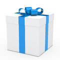 Gift box blue ribbon Royalty Free Stock Photo