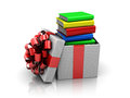 Gift box with books Royalty Free Stock Photos
