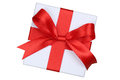 Gift box with bow from above for gifts on Christmas, birthday or Royalty Free Stock Photo