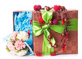 Gift box bow flowers Royalty Free Stock Photo