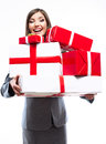 Gift box business woman hold against white background close up isolated portrait of young smiling model Royalty Free Stock Image