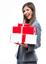 Gift box business woman hold against white background close up isolated portrait of young smiling model Royalty Free Stock Photography