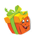 Gift Box cartoon with funny face Royalty Free Stock Photo