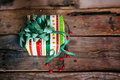 Gift box christmas card with red and green Royalty Free Stock Images