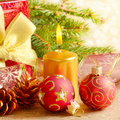 Gift box with christmas decorations Stock Image