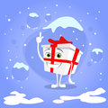 Gift box christmas present point finger up show empty copy space cartoon character red bow concept blue snow background flat Stock Images