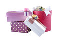 Gift box collection isolated over white Stock Image