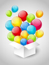 Gift box color balloons grey background Royalty Free Stock Images