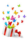 Gift box with color butterflies on white background Stock Photo