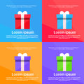 Gift Box Colorful Set Present Flat Vector Royalty Free Stock Photo