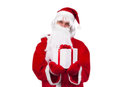 Gift box concept santa clause holding Stock Photos