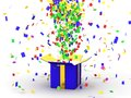 Gift box with confetti d spraying out of it Royalty Free Stock Photo
