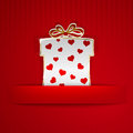 Gift box cut out of paper white with red hearts on red striped background Stock Image