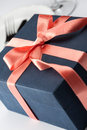 Gift box in a decorative red ribbon Stock Images
