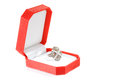 Gift box with diamond ring Stock Images