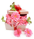 Gift box with flowers.