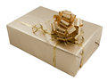 Gift box in gold Stock Photos