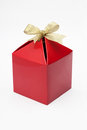 Gift box with gold ribbon red isolated on white background Stock Photography