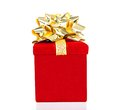 Gift box with golden bow for all occasions red isolated on white Stock Images