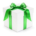 Gift box with green ribbon and bow isolated on the white background clipping path included Royalty Free Stock Image