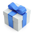 Gift box grey with blue bow on white background Royalty Free Stock Photo