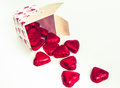 Gift box with heart shape chocolate Royalty Free Stock Photo