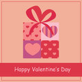 Gift box with heart for valentines day vector Stock Photo