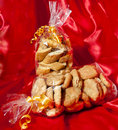 Gift box of italian home made biscuits on fabric background Stock Image