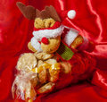 Gift box of italian home made biscuits on fabric background Stock Images