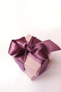 Gift box of kraft paper with brown ribbon Royalty Free Stock Photo