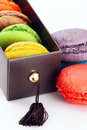 Gift box of macaroons colorful Royalty Free Stock Image