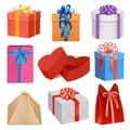 Gift box mockup set, realistic style Royalty Free Stock Photo